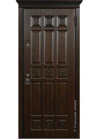 Металлическая дверь Стальные линии Аркадия (Дуб тёмный)